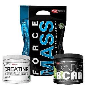 WHEY FORCE MASS 3kg + BCAA DARK + CREATINA 100g