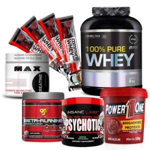 100% PURE WHEY + BETA-ALANINE + PSYCHOTIC + CREATINA + POWER 1 + 4 BARRAS PROTÉICAS