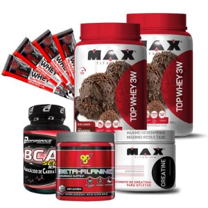 2 TOP WHEY 3W + CREATINA + BCAA + BETA-ALANINE + 4 BARRAS PROTÉICAS