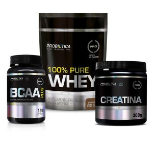 100% PURE WHEY 825G + CREATINA 300G + BCAA PLUS 120CAPS - PROBIÓTICA