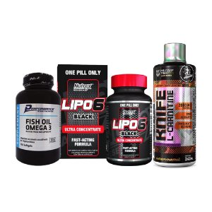 LIPO 6 BLACK 60 CÁPSULAS ULTRA CONCENTRADO + KNIFE L-CARNITINE 480ml + ÔMEGA 3 100 CÁPSULAS