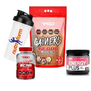 COMBO GAINERS BOLIC MASS 32000 RED + BCAA RED + ENERGY PLUS + COQUETELEIRA