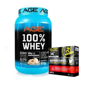 COMBO 100% WHEY AGE + SOMARIZANOL 30 CAPS MILITARY TRAIL