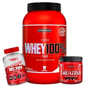 WHEY 100% 907g + BCAA PRO CODE RED SERIES+ CREATINA INTEGRAL MÉDICA 300g