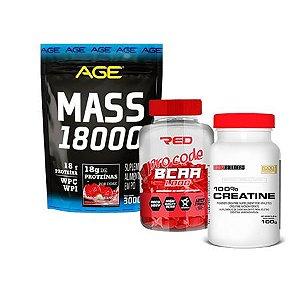 AGE MASS 18000 3KG + BCAA PRO + 100% CREATINE
