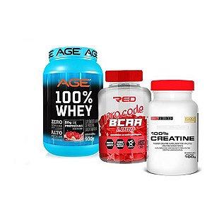 AGE 100% WHEY + BCAA PRO + 100% CREATINE