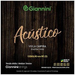 Cordas Giannini Para Viola Caipira Tensão Media Cebolão - Ré