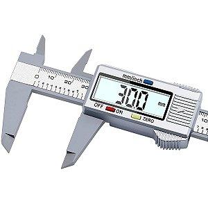 Paquimetro Digital Caliper Eletronico Fibra Carbono 150mm Prata