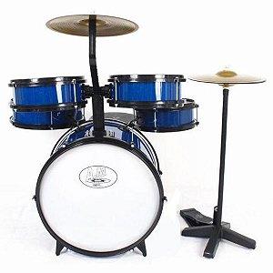 Bateria Musical Rock Baby Infantil 2 Tons Com Chimbal Azul