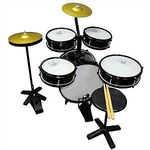 Bateria Musical Rock Baby Infantil 2 Tons Com Chimbal Preta