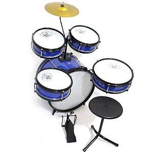 Bateria Musical Acústica Rock Baby Infantil Com 2 Tons Azul