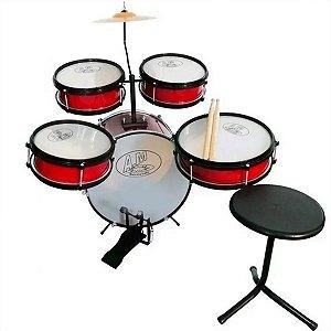 Bateria Musical Acústica Rock Baby Infantil Com 2 Tons Vermelha
