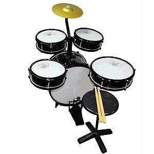 Bateria Musical Acústica Rock Baby Infantil Com 2 Tons Preta