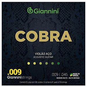 Jogo de Cordas Para Violão Aço Giannini Cobra 009