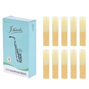 Caixa Com 10 Palhetas De Bambu Jm Reeds Para Sax Alto Nº 2.0