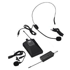 Kit Completo Microfone Sem Fio Headset Tie Clip Com Lapela