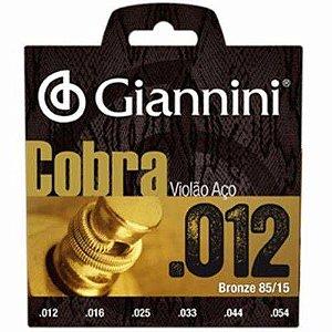 Encordoamento Para Violão Aço Cobra 012 Giannini Oferta