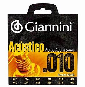 Encordoamento Para Violão 12 Cordas Aço Acústico 010 Giannini Oferta
