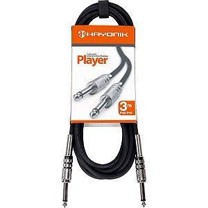 Cabo Para Instrumentos P10 X P10 3m Player Preto Hayonik