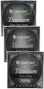 Encordoamento Cordas Violão Nylon Giannini Titanium Tensão Média -Pesada -Extra Pesada