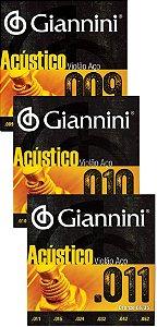 Encordoamento Cordas Para Violão Aço Giannini