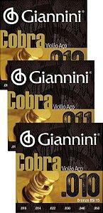 Encordoamento Cordas Para Violão Aço Giannini Cobra 85/15