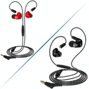 Fone De Ouvido Moxpad X9 In Ear Dual Drive Retorno De Palco Vermelho-Preto