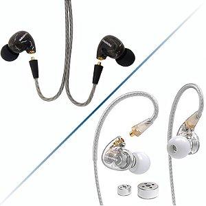 Fone De Ouvido Tennmak In Ear Dual Driver Retorno Palco Profissional Preto-Transparente