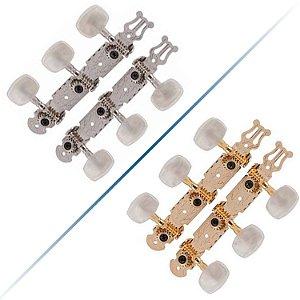 Tarrachas Tarraxas Para Violão Nylon Pino Grosso Standard Deval Cromada-Dourada