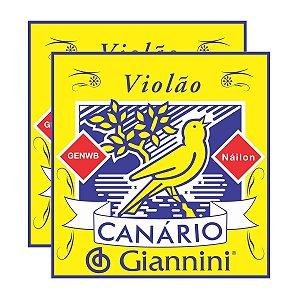 Kit Com 02 Jogos De Cordas Para Violão Nylon Canário Giannini