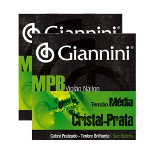 Kit Com 02 Jogos De Cordas Para Violão Nylon Tensão Média Cristal Prata Mpb Giannini