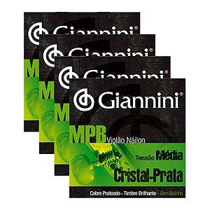 Kit Com 04 Jogos De Cordas Para Violão Nylon Tensão Média Cristal Prata Mpb Giannini