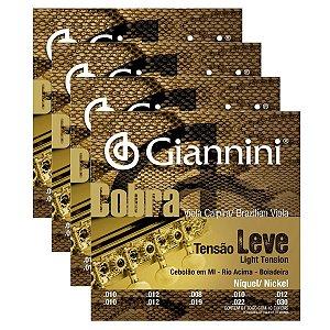 Kit Com 04 Jogos De Cordas Para Viola Caipira Tensão Leve Niquel Cobra Giannini