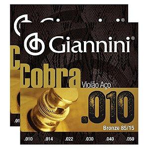 Kit Com 02 Jogos De Cordas Para Violão Aço 010 Cobra Giannini