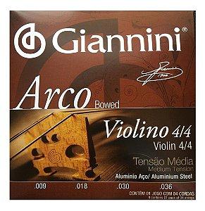Encordoamento Cordas Para Violino Tensão Média 4/4 Arco Giannini
