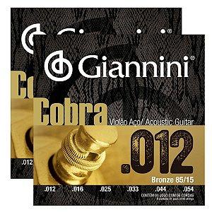 Kit Com 02 Jogos De Cordas Para Violão Aço 012  Cobra Giannini
