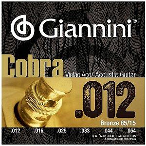 Cordas Para Violão Aço Giannini cobra 012