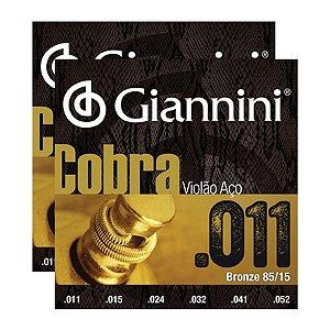 Kit Com 02 Jogos De Cordas Para Violão Aço 011 Cobra Giannini