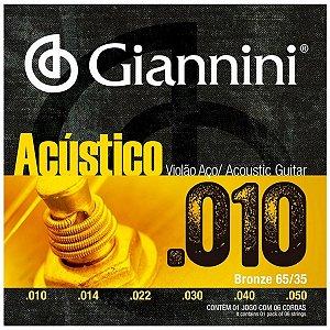 Cordas Para Violão Aço Giannini Acústico 010