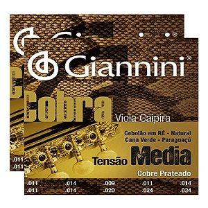 Kit Com 02 Jogos De Cordas Para Viola Caipira Tensão Média Cobre Prateado Cobra Giannini