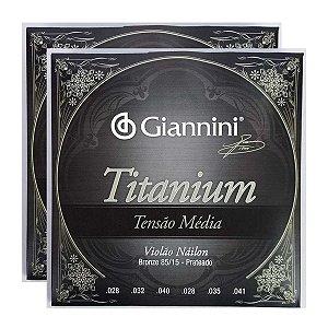 Kit Com 02 Jogos De Cordas Para Violão Nylon Tensão Media Titanium Giannini