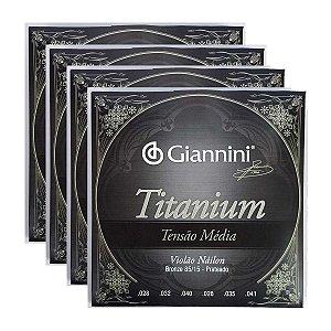 Kit Com 04 Jogos De Cordas Para Violão Nylon Tensão Média Titanium Giannini