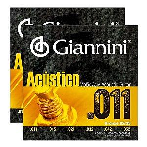 Kit Com 02 Jogos De Cordas Para Violão Aço 011 Acústico Giannini