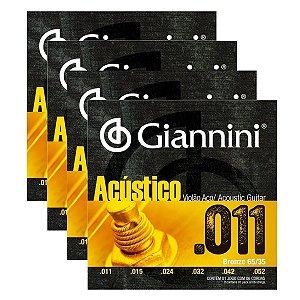 Kit Com 04 Jogos De Cordas Para Violão Aço 011 Acústico Giannini