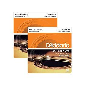 Kit Com 02 Jogos De Cordas Para Violão Aço 010 EZ900-B Daddario