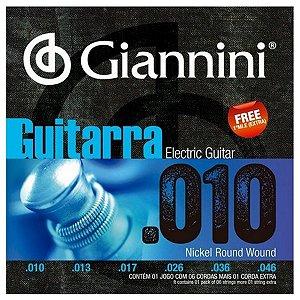 Cordas De Guitarra Elétrica Giannini 010 Nickel Round Wound
