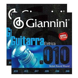 Kit Com 02 Jogos De Cordas Cordas Para Guitarra 010 Giannini