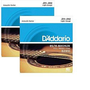 Kit Com 02 Jogos De Cordas Para Violão Aço 011 EZ910 Daddario