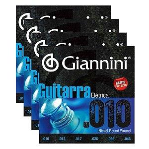 Kit Com 04 Jogos De Cordas Para guitarra 010 Giannini