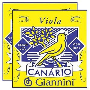 Kit Com 02 Jogos De Cordas Para Viola Com Bolinha Canario Giannini
